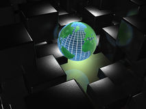 Abstract background. Globe and black cubes Stock Image