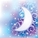 Abstract background. With curls and white moon Stock Image