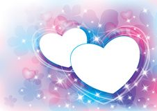 Abstract background. Beautiful colorful abstract background with two white hearts Stock Images