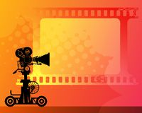 Abstract background. With white frame and movie camera stock illustration