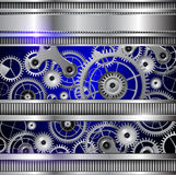Abstract  background. Abstract technology background, silver metallic machinery gears Stock Photography