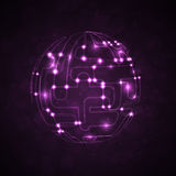 Abstract background. Circuit board form of ball, technology illustration Stock Photo