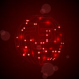 Abstract background. Circuit board form of ball, technology illustration Stock Image