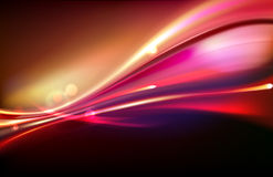 Abstract background. Vector illustration of red abstract background with blurred magic neon light curved lines Stock Images