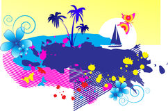 Abstract background. Tropics with palm trees, the yacht and flowers stock illustration
