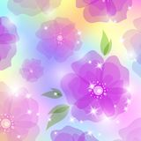 Abstract background. With violet flowers and white stars Stock Illustration