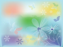 Abstract background. With flowers and butterflies stock illustration