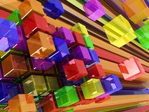 Abstract background. 3d abstract background made of color cubes and lines Stock Photos