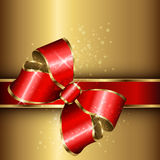 Abstract background. Gold with red elegant bow, vector Royalty Free Stock Images