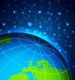 Abstract background. With planet and stars Stock Illustration
