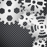 Abstract background. With gears on circular grid Stock Images
