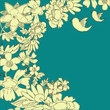Abstract background. Abstract floral background with birds Stock Illustration