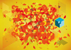 Abstract Background. An explosion red hexagon on a yellow background royalty free illustration