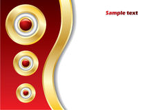 Abstract background with 3d balls. Abstract red background with 3d balls and gold rings royalty free illustration