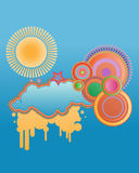 Abstract background. With sun, cloud, star and other elements royalty free illustration