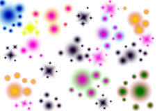 Abstract Background. Colorful stars and bubbles spreading white background Stock Image