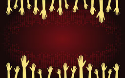 Abstract background. Hands on the dark background stock illustration