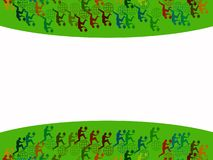 Abstract Background. With dynamic color jumping man holding canada leaf Stock Photography
