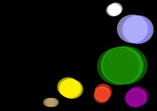 Abstract background. Multi colored circles at the black background Vector Illustration