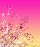 The Abstract background. The Abstract background with flower and line Royalty Free Stock Image