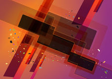 Abstract geometric shapes. In orange and purple background Stock Photos
