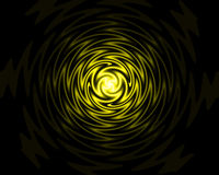 Abstract background. Abstraction - rotating golden ball on black background stock illustration