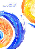 Abstract background with accent colors. Blue circle, yellow circle, wide watercolor strokes, watercolor, bright rich colors, pattern, effect of motion in a Royalty Free Illustration