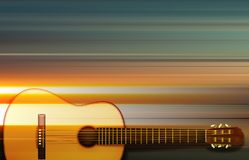 Abstract background with acoustic guitar. Abstract blur music background with acoustic guitar on gray Stock Photos