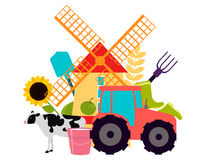 Abstract background Agriculture. Tractor mill and food. Vector illustration Stock Photography