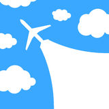 Abstract background with airplane and clouds Royalty Free Stock Image