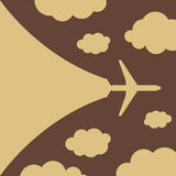 Abstract background with airplane and clouds. Vector illustration Royalty Free Stock Photography