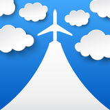 Abstract background with airplane and clouds Royalty Free Stock Photos