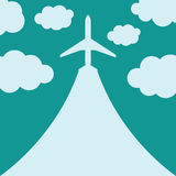 Abstract background with airplane and clouds. Vector illustration Royalty Free Stock Photo