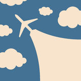 Abstract background with airplane and clouds Royalty Free Stock Photo