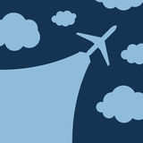 Abstract background with airplane and clouds. Vector illustration Stock Photo