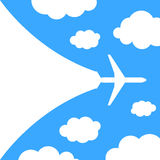 Abstract background with airplane and clouds Royalty Free Stock Images