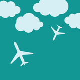 Abstract background with airplanes and clouds Royalty Free Stock Images