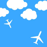 Abstract background with airplanes and clouds. Vector illustration stock illustration