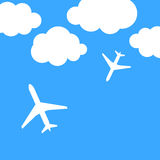 Abstract background with airplanes and clouds. Vector illustration royalty free illustration