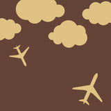 Abstract background with airplanes and clouds Stock Photography