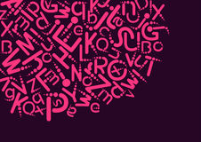 Abstract background with alphabet. Abstract background of pink letters on a dark background Stock Photos