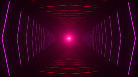 Abstract background with animation of flight in abstract futuristic tunnel with neon light stock video