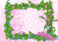 Abstract background for announcement with floral bucket. And rake Stock Images