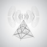 Abstract background with antenna and radio waves on a gray backg. Round. The transmission of information over long distances. Internet and mobile communications royalty free illustration