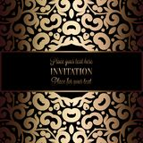 Abstract background with antique. Luxury black and gold vintage frame, victorian banner, damask floral wallpaper ornaments, invitation card, baroque style Royalty Free Stock Images