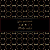 Abstract background with antique, luxury black and gold vintage frame. Geometrical banner, invitation card, template for design Stock Photography