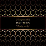 Abstract background with antique, luxury black and gold vintage frame. Geometrical banner, invitation card, template for design Stock Photo