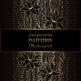 Abstract background with antique, luxury black and gold vintage frame, victorian banner. Lillies on lace wallpaper ornaments, invitation card, baroque style vector illustration