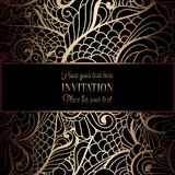 Abstract background with antique, luxury black and gold vintage frame, victorian banner. Damask floral wallpaper ornaments, invitation card, baroque style Royalty Free Stock Images
