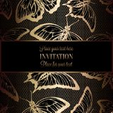 Abstract background with antique, luxury black and gold vintage frame, victorian banner, butterflies on lace crochet,. Abstract background with antique, luxury stock illustration